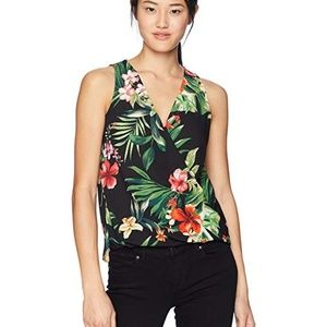 BCX Blouse Floral Spring Print Surplice Top Black